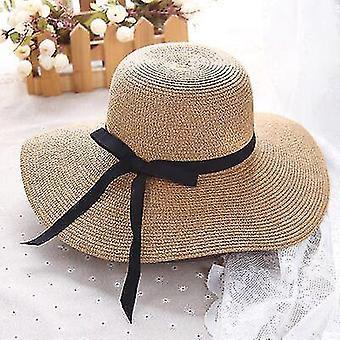 Simple foldable wide brim straw sun beach hat(55-58cm)(Light Coffee)