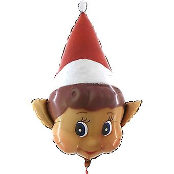 34 Inch Naughty Elf Christmas Shaped Foil Balloon - Inflate with Air or Helium - Elves Behavin'