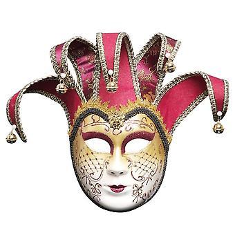Payaso Veneciano Completo Mascarada Teatro Máscara Fiesta de Carnaval Máscara de Graduación-rojo