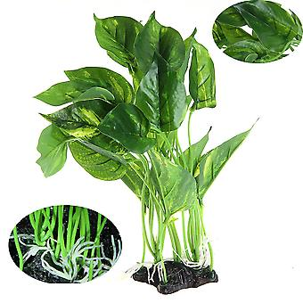 אקווריום אקווריום טנק פלסטיק צמחים מימיים ירוק קישוט צמח