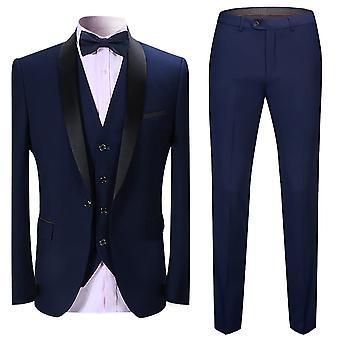 Seeunique Hommes Slim Fit 3 Pièces Costume Un Bouton Business Wedding Prom Suits Blazer Tux Vest &Pantalon