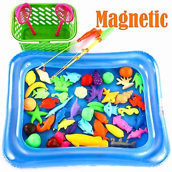 52 Pcs Magnetic Fishing Toys For Kids, Plastic Floating Game Set Toys For Bathtub And Pool