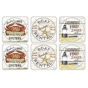Pimpernel Coastal Signs Coasters, Set of 6