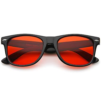 Retro Wide Temple Color Tinted Square Lens Horn Rimmed Sunglasses 54mm