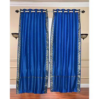 Azul anillo superior Sari pura cortina / cortina / Panel - pieza