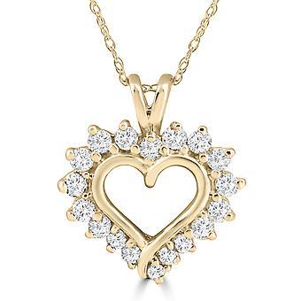 1/2 Karat echte Diamant Herzanhänger 14K Gelb Gold 18 mm groß