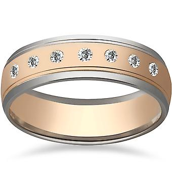 Mens 1/5ct 14K Gold Two Tone 6mm Wedding Ring Band