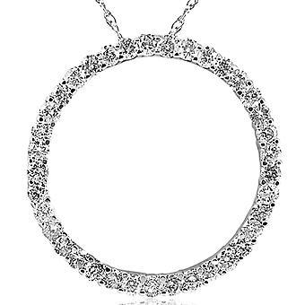 3ct Large Real Diamond Circle Pendant 14K White Gold