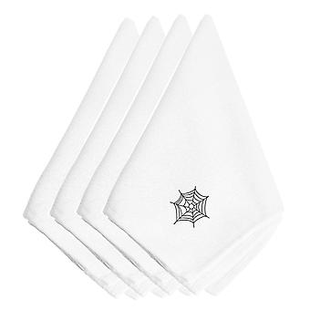 Halloween Spider Web Embroidered Napkins Set of 4