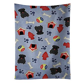 Carolines skarby BB2619KTWL Dog House kolekcja Mops Ręcznik kuchenny czarny