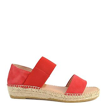 Kanna Ada Red Suede Flat Sandal