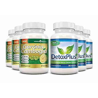 Garcinia Cambogia Cleanse Combo 1000mg 60% HCA with Potassium and Calcium - 3 Month Supply - Appetite Control and Colon Cleanse - Evolution Slimming