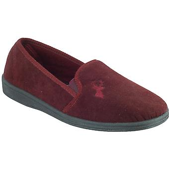 Mirak Mens Stag Slip-On Stag Embroidered Textile Slipper Red