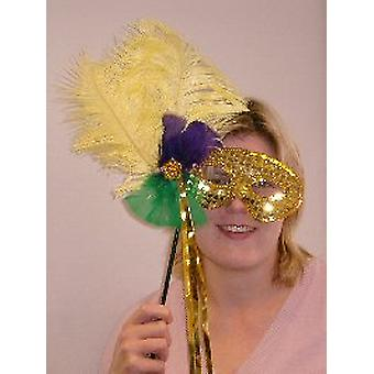 Feathered Mask Gold Sequin On Stick With Gold Streamers (1)