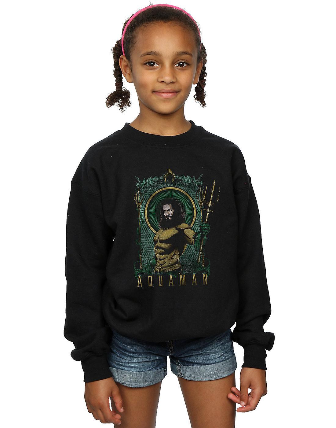 DC Comics Girls Aquaman Framed Trident Sweatshirt