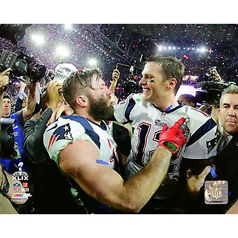 Julian Edelman & Tom Brady Super Bowl XLIX Action Photo Print