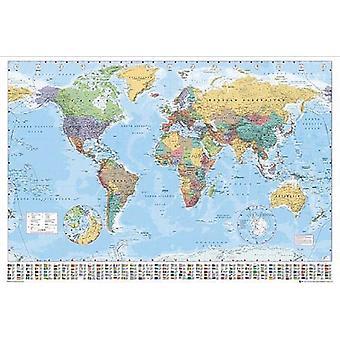 Weltkarte XXL Poster Flaggen Englisch Version 2017 140x100 Legende & Namen in englisch. Riesenposter