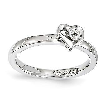 2.25 mm 925 כסף סטרלינג מלוטש הגדר מצופה רודיום ביטויים הערמה לבן טופז אהבה טבעת לב תכשיטים G
