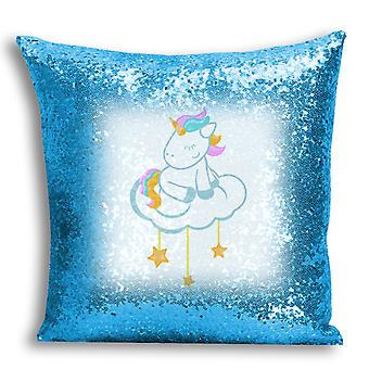 i-Tronixs - Unicorn Printed Design Blue Sequin Cushion / Pillow Cover for Home Decor - 1