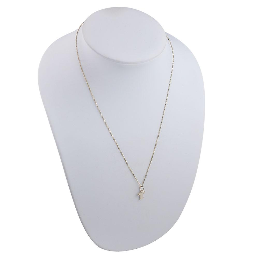 9ct Gold 10x10mm plain Initial T Pendant with a cable Chain 20 inches