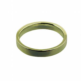 18ct Gold 3mm plain flat Court shaped Wedding Ring Size P