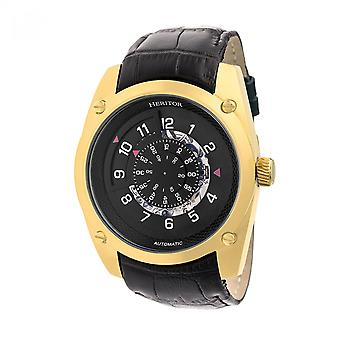Heritor Daniels automático relógio de couro-banda semi esqueleto - preto/ouro