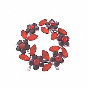 暗いサイアム ラウンド エナメル赤と赤結晶花のブローチの葉します。