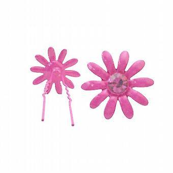 Fuchsia Flower Hair Pin w/ Matching Crystals Jewelry Gift