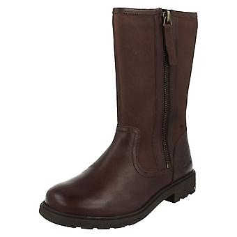 Girls Clarks Boots Ines Rain Brown Size 8.5 F