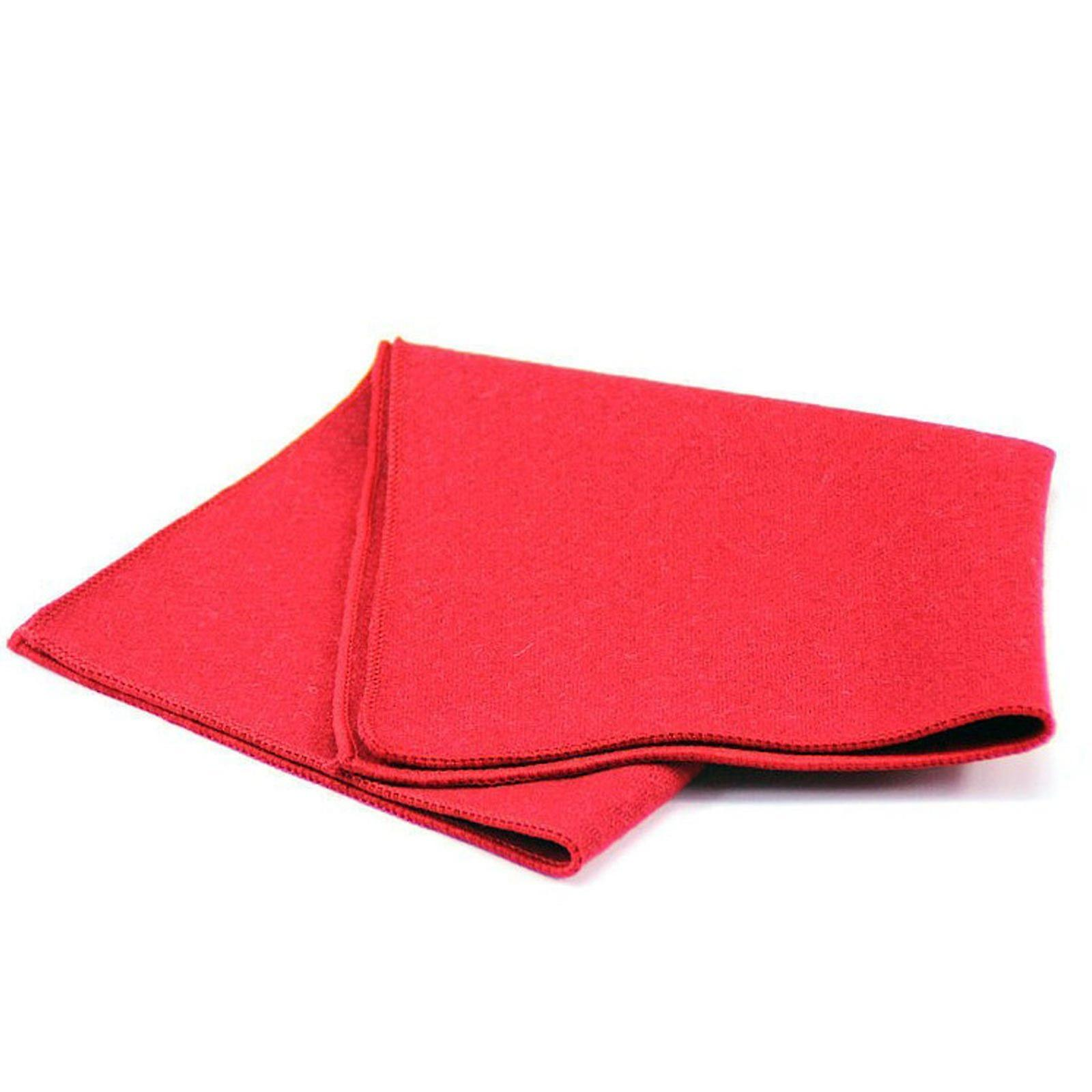 Rough texture red thick tweed wool men's pocket square