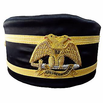32. Grad Flügel DOWN Scottish Rite Cap Bullion Hand Stickerei
