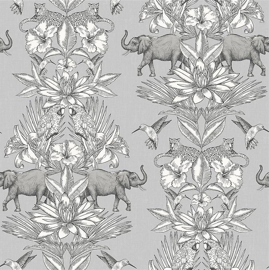 Colonial Elephant Forest Animal Print Floral Wallpaper Grey Silver Bird Rasch