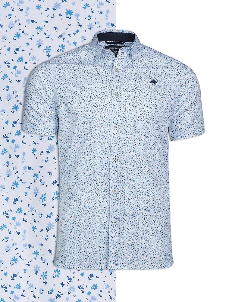 Short Sleeve Ditzy Floral Print Shirt - White