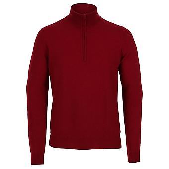 Cashmere Men's Half Zip Sweater, Mulberry