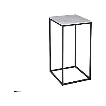 Gillmore White Marble And Black Metal Contemporary Square Lamp Table