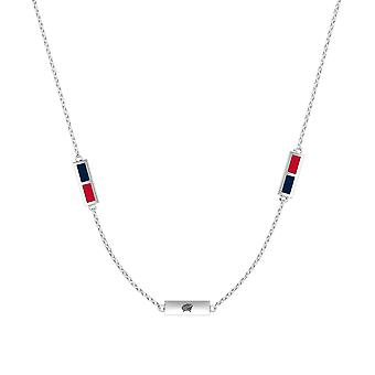 Columbus Blue Jackets Sterling Silver Engraved Triple Station Necklace In Blue & Red
