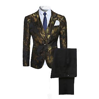 Allthemen Men's Suits Slim Classic Floral Suit Üç Parça Suit Blazer&Pantolon&Yelek