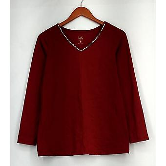 Belle by Kim Gravel Top XXS Long Sleeved Top w/ Embellished Neck Red A293589
