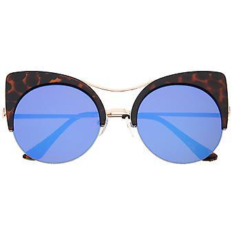 Womens Oversized Half Frame Semi-Rimless Flat Lens Round Cat Eye Sunglasses 51mm