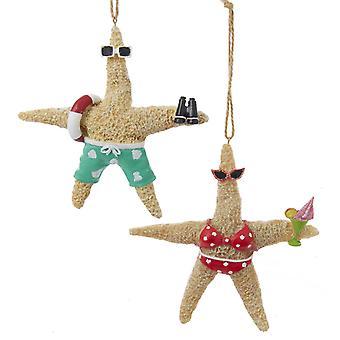 Kurt Adler Whimsical Beach Starfish Couple in Swimsuits Ornament Set of 2