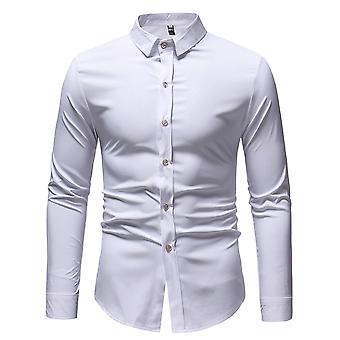Allthemen Men's Slim Dark Grain Printed Revers Casual Long Sleeves Shirt
