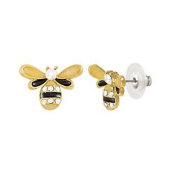 Eternal Collection Honey Bee emali ja Itävallan kristalli kulta sävy Stud lävistetty korva korut