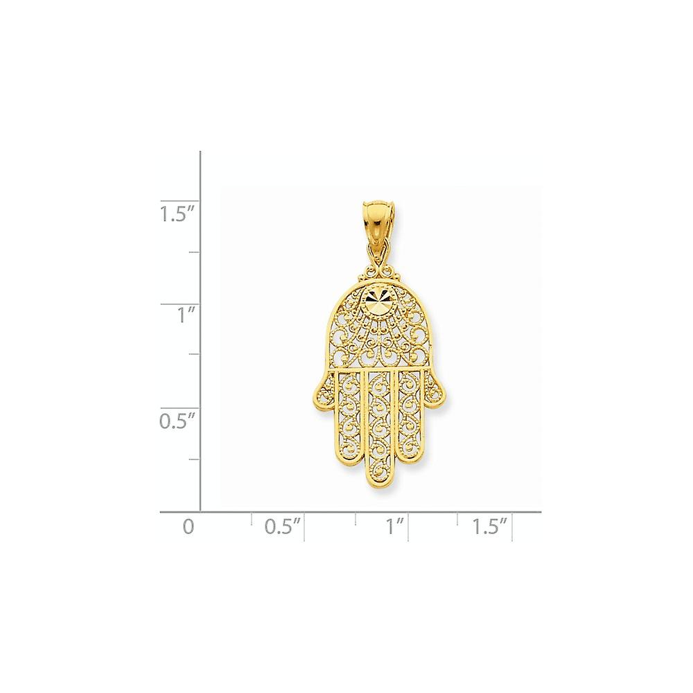 14k Yellow Gold Polished Flat back Sparkle Cut Filigree Chamseh Pendant Necklace Measures 25x14mm Jewelry Gifts for Wome