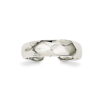 925 Sterling Argento Sfaccettato Solido Lucido Domed Toe Ring - 3.5 Grams