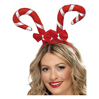 Womens Candy Cane Headband Christmas Fancy Dress Accessory