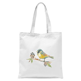 Blue Tit On Pine Cone Branch Tote Bag - White