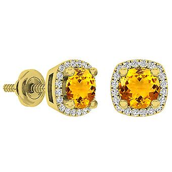 Dazzlingrock Collection 14K 5 MM Each Round Citrine & White Diamond Ladies Halo Stud Earrings, Yellow Gold