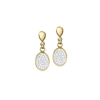 Eternal Collection Belgravia Diamante Crystal Gold Tone Stainless Steel Drop Clip On Earrings