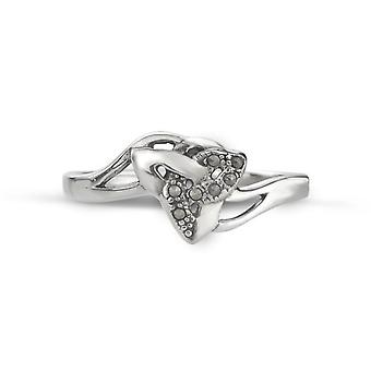 Celtic Holy Trinity Knot Triangle Face Ring - Pierres Marcasite