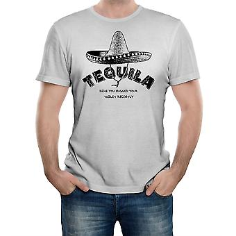 Reality glitch tequila have you hugged your toilet recently? mens t-shirt